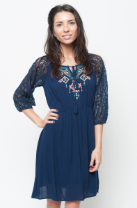Buy online lace sleeve embroidered dress  for women on sale at caralase.com