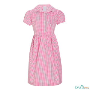 Rose Pink Checked School Dress