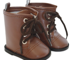 American Girl Doll Shoes-Brown Tie Boots