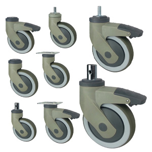 medical casters with plastic support