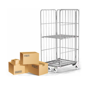 Industrial Steel Foldable Wire Mesh Rolling Pallets Cage