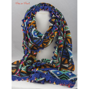 Scarf - Tribal obsession scarf with a royal blue lace border in heard shape