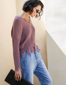 GET TO KNOW ME FRAYED SWEATER-Mauve