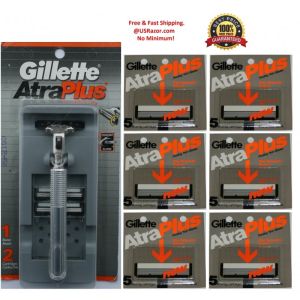 32 Gillette Atra Plus Razor Blades Cartridges Shaver Made USA