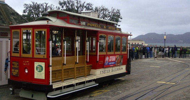 Empty cable car at Fisherman's Wharf, San Francisco