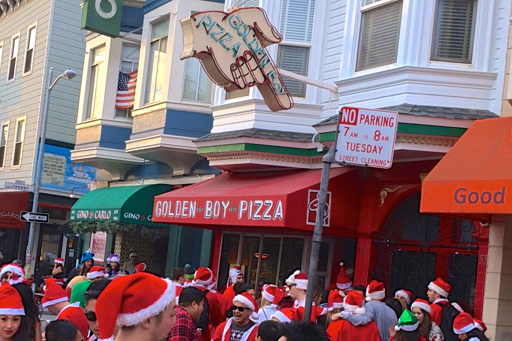 Golden Boy Pizza SantaCon Food SF