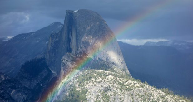 Half Dome Rainbow on Camping Trip
