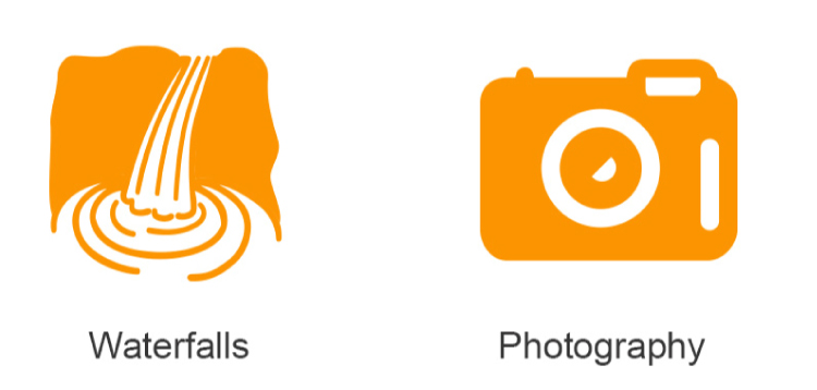 Photography and Waterfall Icon