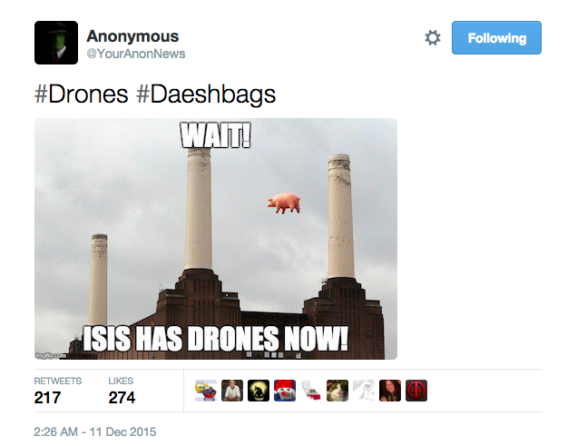 "Another swine-related meme. This one from the people behind ""Trolling Day"" @YourAnonNews. They've again used the #Daeshbags hashtag"
