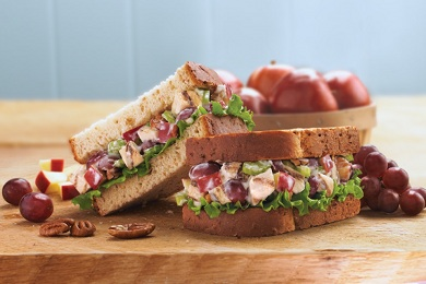 Grape, Pecan and Chicken Salad Sandwich