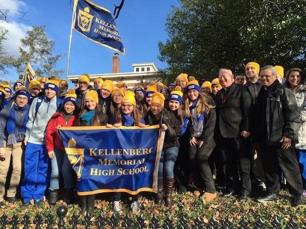 Kellenberg juniors pictured here with Bishop William Murphy.