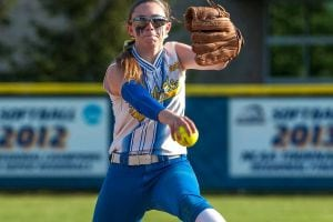 Kellenberg's Kaitlin Geary (14) pitches against Sacred Heart Academy during the CHSAA softball finals at Hofstra on Wednesday May 25, 2016. (Credit: Richard T. Slattery)