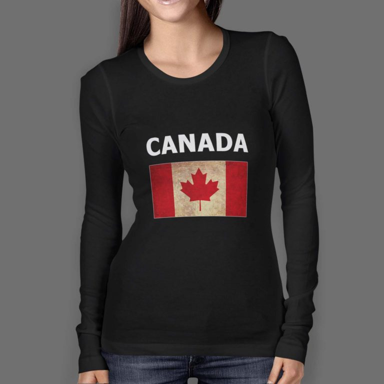 Womens-Longsleeve-O-Neck-FRONT-black-canada-with-flag