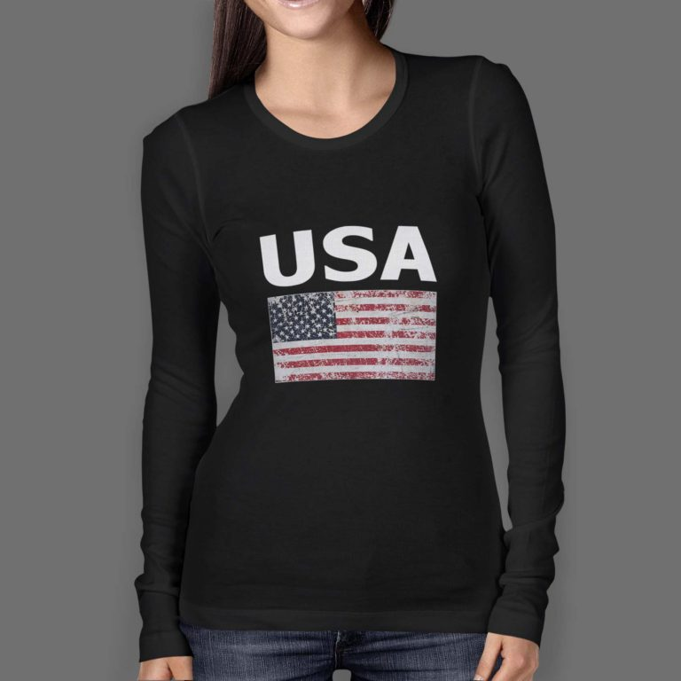 Womens-Longsleeve-O-Neck-FRONT-black-usa-with-flag