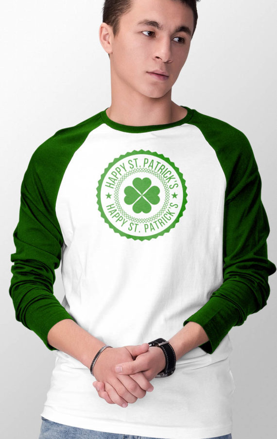 chao-baseball-long-sleeve-male-tshirt-front-green-on-white-st-patricks-day_green