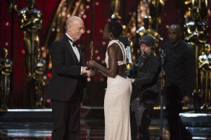 THE OSCARS(r) - THEATRE - The 87th Oscars, held on Sunday, February 22, 2015, at the Dolby Theatre(r) at Hollywood & Highland Center(r), are televised live on the ABC Television Network at 7 p.m., ET/4 p.m., PT. (A.M.P.A.S.(r)/Michael Yada) J.K. SIMMONS, LUPITA NYONG'O