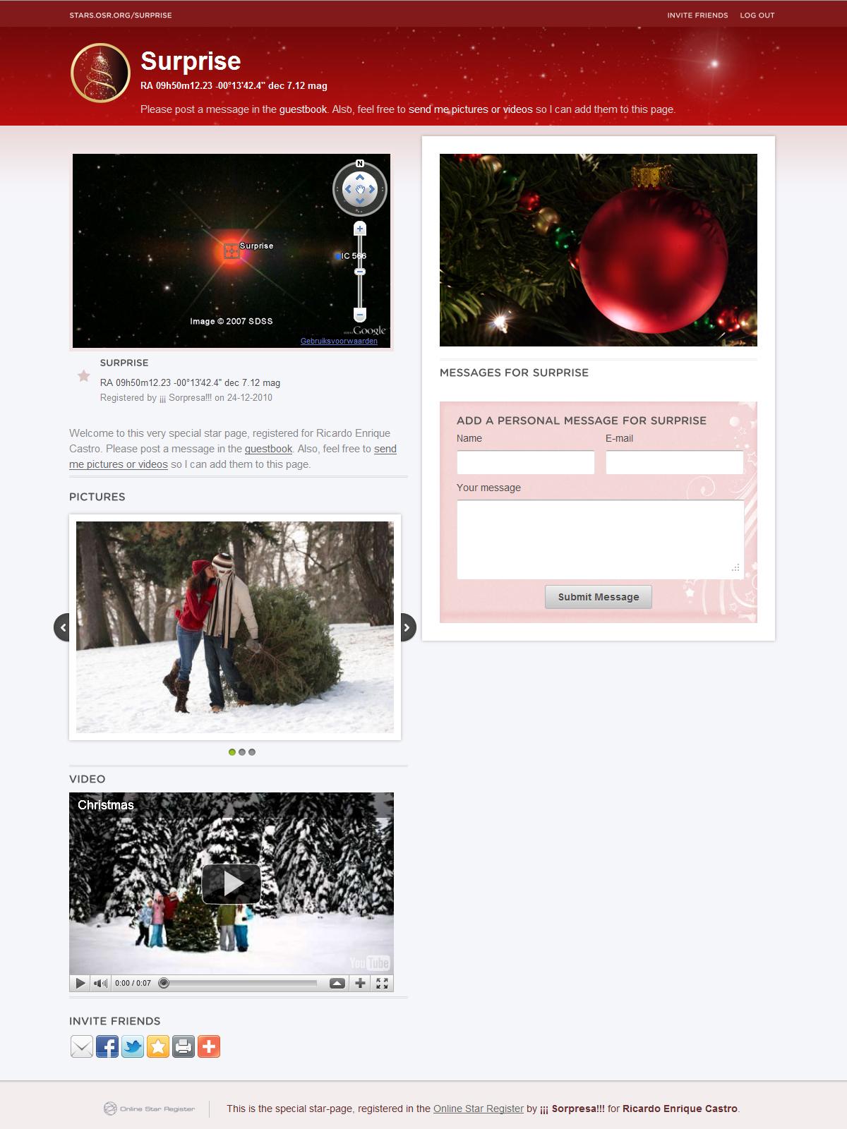 Christmas Gift Star Page