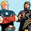 Steve Rogers and Tony Stark, both in uniform, crossing arms with a blue background.