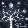 "The White Tree accompanied by ""Gondor"" text."