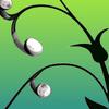 vine growing earbuds as flowers; black on green