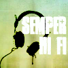 "Headphones and the words ""semper hi fi"""