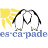 Escapade radiant sun and penguin mascots, with convention name spelled beneath (es•ca•pade)