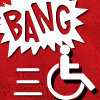 "A comic book-style ""BANG"" explodes in the background while the universal access symbol speeds away."