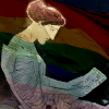 A vase painting of Sappho reading poetry, overlaid with a rainbow flag