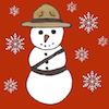 Snowman dressed as Mountie