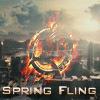 spring fling logo, mockingjay on fire against the capitol backdrop
