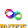 "the rainbow infinity symbol, with ""autfic"" written beneath in orange text."