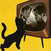 Isis the Cat (Larissa's alter ego) longingly looking at Hannigram on an old TV set