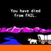 "an image from the original oregon trail of the ox pulling the wagon, with the text ""you have died from FAIL"" in white."