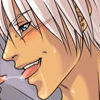 Picture of Dante from Devil May Cry in the middle of a French kiss.