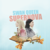 Emma and Regina back to back, emerging from the pages of a book