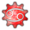 Cancer symbol superimposed over a marbled red-and-white gear icon.
