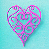 A deep pink open filigree heart on an aqua blue background.