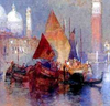 A thumbnail from a watercolor of sailed ships on the Venetian lagoon, with the city in white in the background