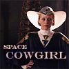 Reverend Mother from Dune; text: space cowgirl.