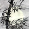 bamboo against full moon, painted