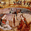 Ariadne in front of labyrinth with Minotaur at center.