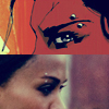 Comic and movie images of Aisha's eyebrow ring (The Losers)