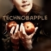 Sam Carter holding apples; text is &quot;Technobapple&quot;