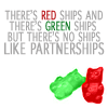two gummybears cuddle, no ships like partnerships