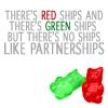 two gummybears cuddle, no ships like partnerships