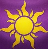 A yellow starburst on a purple background.