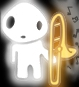 A kodoma holding a slide trombone, from which ghostly notes are emanating.
