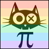 icon with the head of a cat in front of a rainbow background with the pie symbol