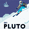 retro style poster of a skier on pluto