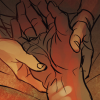 [image of the Fool holding Fitz's hand, with his Skill fingerprints visible on Fitz's wrist]